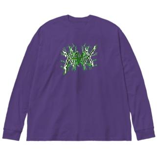 【X Thunder LŌGO X】 GREENVer. Big silhouette long sleeve T-shirts