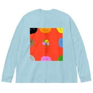 モコちゃんズアイテム Big silhouette long sleeve T-shirts