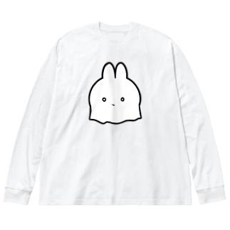 おばけうさぎ Big silhouette long sleeve T-shirts