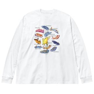 カエルアンコウと12匹のウミウシ Big silhouette long sleeve T-shirts
