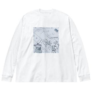 早退 Big silhouette long sleeve T-shirts