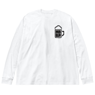ビアモット! (white body) Big silhouette long sleeve T-shirts