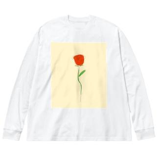 薔薇 Big silhouette long sleeve T-shirts