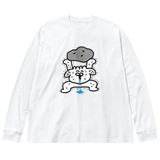 28番商店街の馬鹿力 Big silhouette long sleeve T-shirts