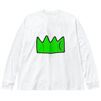 へんてこキャラクター お弁当の『ばらん』🌱💗 Big silhouette long sleeve T-shirts
