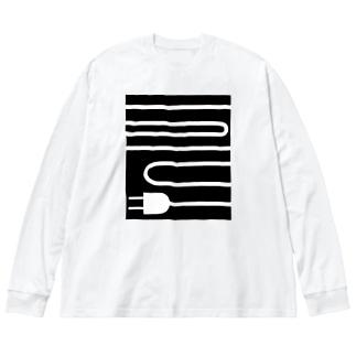 充電 Big silhouette long sleeve T-shirts