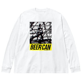 Man with Beer Can Big silhouette long sleeve T-shirts