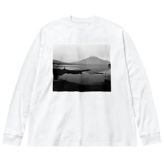 富士山とおじさん Big silhouette long sleeve T-shirts
