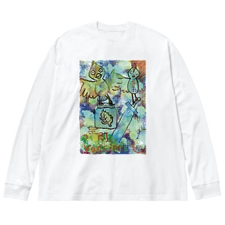 コウノ鳥がワクチンを配布 Big silhouette long sleeve T-shirts