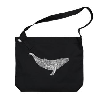 座頭鯨 (white) Big shoulder bags