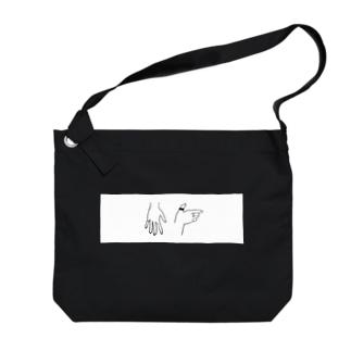 手_白枠 Big shoulder bags