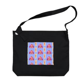 きょんしーちゃん(おふだつき)総柄 Big shoulder bags