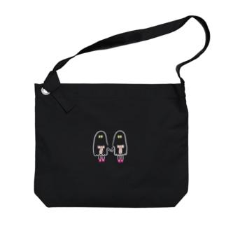 おばけちゃんシスターズ(白フチ)  Big shoulder bags