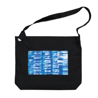 青い模様 Big shoulder bags
