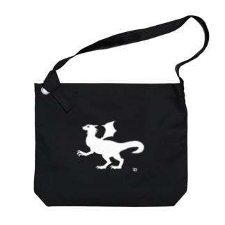有翼の龍の布かばん・白 Big shoulder bags