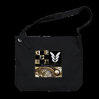 黒猫デザインのパッと見わからない イボタガ 市松 黒 Big shoulder bags