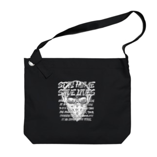 STAY HOME、SAVE LIVES。 髑髏マスク/白 Big shoulder bags