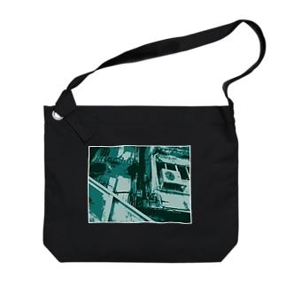 眠る街。2(碧/フチ有②) Big shoulder bags