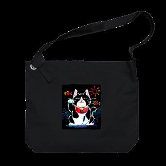Kitsune honpoの招き猫 Big shoulder bags