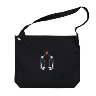 ペンギンLOVE_線白 Big shoulder bags