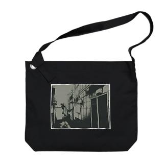 寄り道への誘い【黒】(白縁) Big shoulder bags