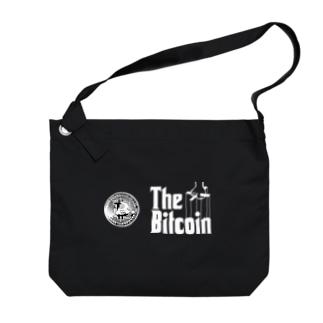 カマラオンテのbitcoin ビットコイン ゴッドファーザー風 パロディ 白字白フォント 白字の文字なのでカラーは黒色がオススメです 白色だと文字が分かりません Big shoulder bags