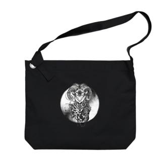 夢羊ver.2 泥中のレプリカ(モノクロ) Big shoulder bags