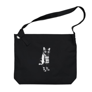 ガスマスクを付けた猫(白) Big shoulder bags