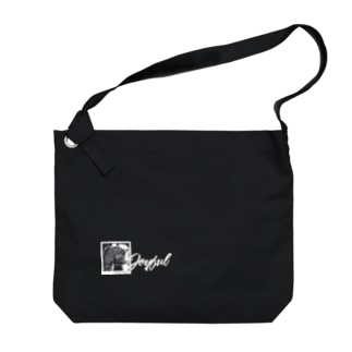 JOYFUL | Grass-eating cat | Left Bottom | Positive white Big shoulder bags