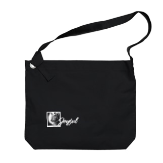 JOYFUL | Brilliant Cat | Left Bottom | Positive white Big shoulder bags