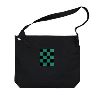 黒緑 流行 升目 Big shoulder bags