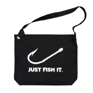 JUST FISH IT (白) Big shoulder bags