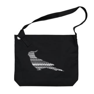 オカメインコ白 Big shoulder bags
