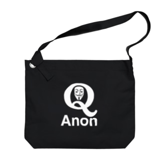 QAnon ANONYMOUS-Qアノン アノニマス-白ロゴ Big shoulder bags