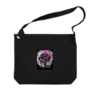 和筆薔薇_pink Big Shoulder Bag