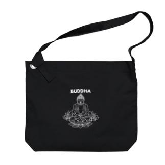 BUDDHA-仏像- 白ロゴ Big Shoulder Bag