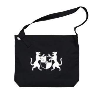 吼える猫の紋章布かばん・暗色向け Big shoulder bags