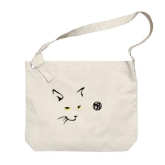 簡潔なる猫の布かばん・明色向け Big shoulder bags