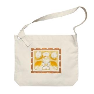 ぱんとまふふ (チョコ) Big shoulder bags
