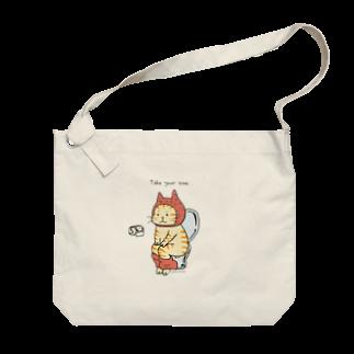 ほっかむねこ屋のトイレねこ・オレンジ Big shoulder bags