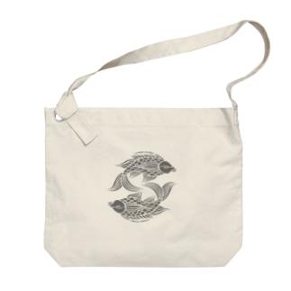 壷屋焼風双魚文 Big shoulder bags