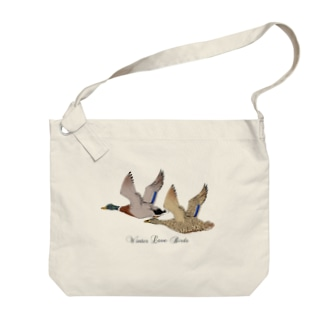 Winter Love Birds Big shoulder bags