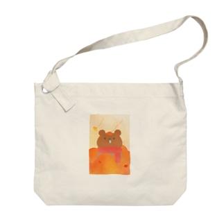 秋のかぜっぴきくまさん Big shoulder bags
