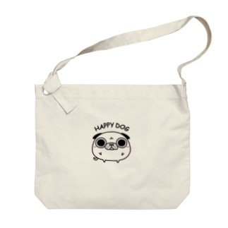 HAPPY DOG(ぽてまあるい仲間たち_パグ) Big shoulder bags