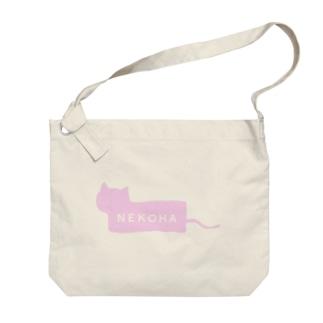 猫派ボックスロゴ風 Big shoulder bags
