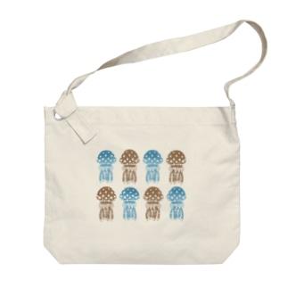 2色のタコクラゲ Big shoulder bags