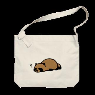 けわいのうたたねたぬき_カラー Big shoulder bags