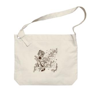 花と刺繍の女の子 Big shoulder bags