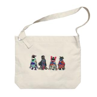 桜梅桃李-Spheniscus Kimono Penguins- Big Shoulder Bag