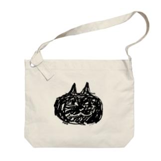 よく見るとクロネコ Big shoulder bags